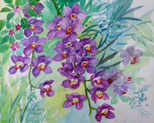 Purple Orchids by Teo Kien Loo
